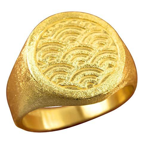 [アトラス]Atrus リング メンズ 純金 24金 印台 青海波 幅広 ピンキーリング 指輪 21号