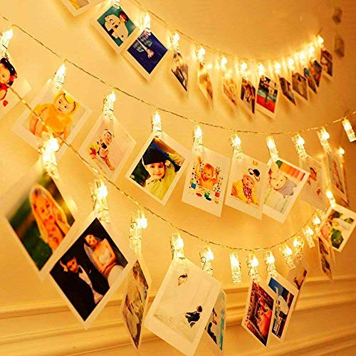 KNONEW 20 LEDs Photo Clip String Lights -Peg Lights for Photo Peg and 9.35ft/3m (String Light Part) Battery Powered LED Picture Lights for Decoration Hanging Photo, Notes, Artwork (Warm-White)