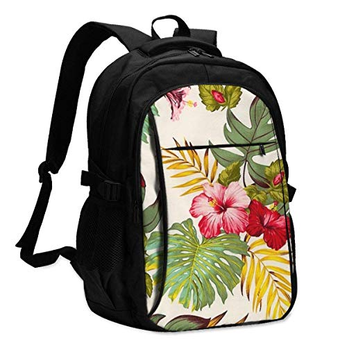 XCNGG Painting Flowers and Watercolors Travel Laptop Backpack College School Bag Casual Daypack with USB Charging Port