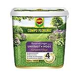 COMPO FLORANID Rasensdünger géint Onkraut + Mooss komplett Suergfalt, 3 Méint laangfristeg Effekt, fein Körnchen, 9 kg, 300m²