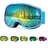 Occhiali da Sci Snowboard Confezioni di Occhiali da Sci per Ragazzi Bambino, Doppia Lente sferica di UV400 Goggle Visione Chiara Anti-Nebbia Anati-Vento con Goggle Case