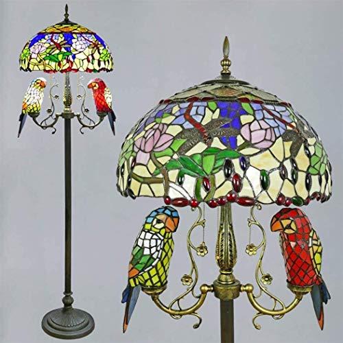 Dekorative Stehlampe, magische Beleuchtungsoptionen, moderne Stehlampe, Raumleuchte, Tiffany-Stil, Papagei, Stehleuchte, ländliche Kirschblüten aus Buntglas, 165 cm, Ta Suit Fo