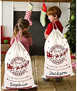 OurWarm 2pcs Canvas Christmas Bags, Hessian Burlap Santa Sacks Bags with Drawstring Large Size 20x28 Inch