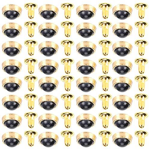 Jeanoko Remaches turquesas Color Brillante Cristal Resistente Duradero Remaches rápidos Pulsera Exquisita Monedero Bolsos Artesanía DIY para Cuero(Black)