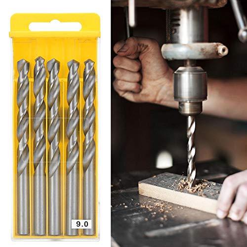 Drill Bit Set, Twisted Drill Bits, 1 Box Straight Shank Twisted Drill Bits High Speed Steel Hole Drilling Hand Tool((9.0 high Speed Steel 5 pcs/Box 4241))