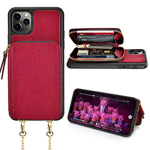 xhorizon iphone 5 cases LAMEEKU Wallet Case Compatible with iPhone 12 Pro & iPhone 12, Zipper Leather Case with Cards Slots Handbag Crossbody Chain, Protective Cover Design for iPhone 12 Pro/12 6.1''-Wine Red