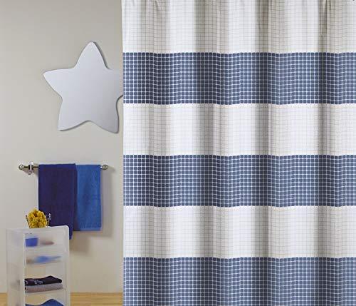 """Cotexsa by MSV Premium Anti-Schimmel Textil Duschvorhang - Anti-Bakteriell, waschbar, 100prozent wasserdicht, mit 12 Duschvorhangringen - Polyester, """"Quadro"""" Weiß Blau 180x200cm – Made in Spain"""