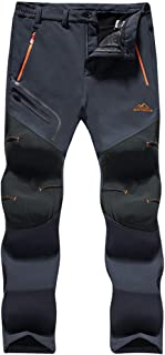 TACVASEN Men's Outdoor Winter Trousers Fleece Softshell Trousers Water-Resistant Hiking Trousers with Zip Pockets
