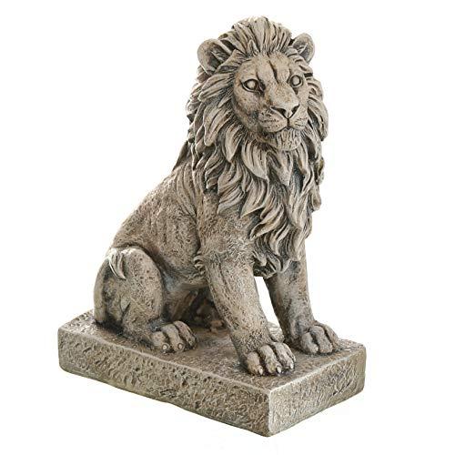 Dio dekorative Gartenfigur Löwe sitzend wetterfest antik-grau