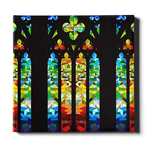 Lienzo de arte de pared de cocina, 20 x 24 pulgadas, 50 x 60 cm, diseño de vidriera gótica, decoración de la pared de la habitación, lienzo, pintura decorativa adecuada para la decoración del hogar