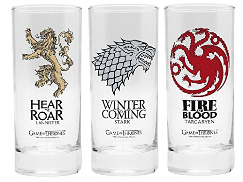 Game of Thrones - HBO TV-serie drinkglazen set van 3 300 ml - Targaryen - Sterk - Lannister