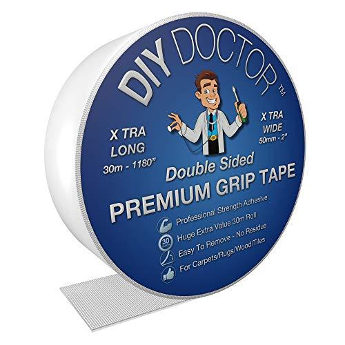 Diy Doctor - Extra starkes Doppelseitiges Klebeband für Teppich - Hinterlässt keine Spuren - Viele Einsatzmöglichkeiten - 50mm x 30m