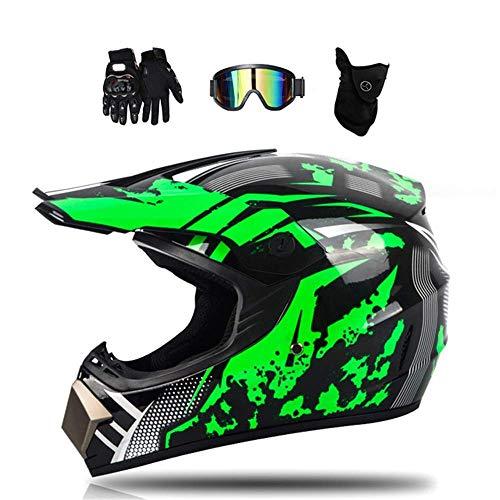 NNYY Motorrad Crosshelm Schwarz Grün Motocross Helm Set Mit Brille (4 Stück),...