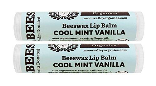 Moon Valley Organics Herbal Lip Balm  Cool Mint Vanilla 015 oz Pack of 2