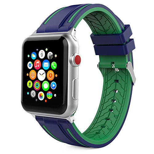 MoKo Cinturino per Apple Watch 38mm 40mm Series 5/4/3/2/1, Morbido Braccialetto Sportivo in Silicone con Connettore per Apple Watch 42mm 44mm Series 5/4/3/2/1, Nike+ 2017, Blu Notte & Verde