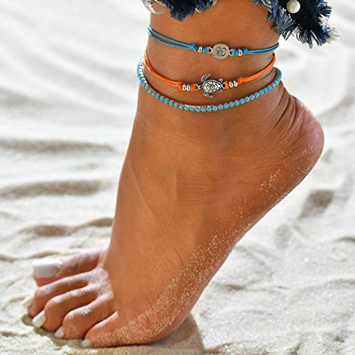 Jovono Blue Boho Beaded Anklets Multilayered Turtle Anklet Bracelets Beach Foot Jewelry for Women and Girls (Silver)
