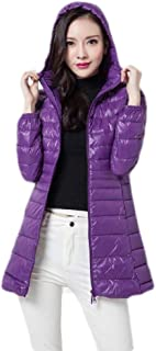 Macondoo Women Puffer Warm Ultra Light Hooded Packable Down Coat Jacket