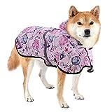 Dociote Impermeable para Perros - Ajustable Respirante Capa de Lluvia Chubasquero con Capucha & Collar Agujero Reflectante Chaleco para Mascotas Perro pequeño y Mediano y Grande 2XL Rosa Estampado