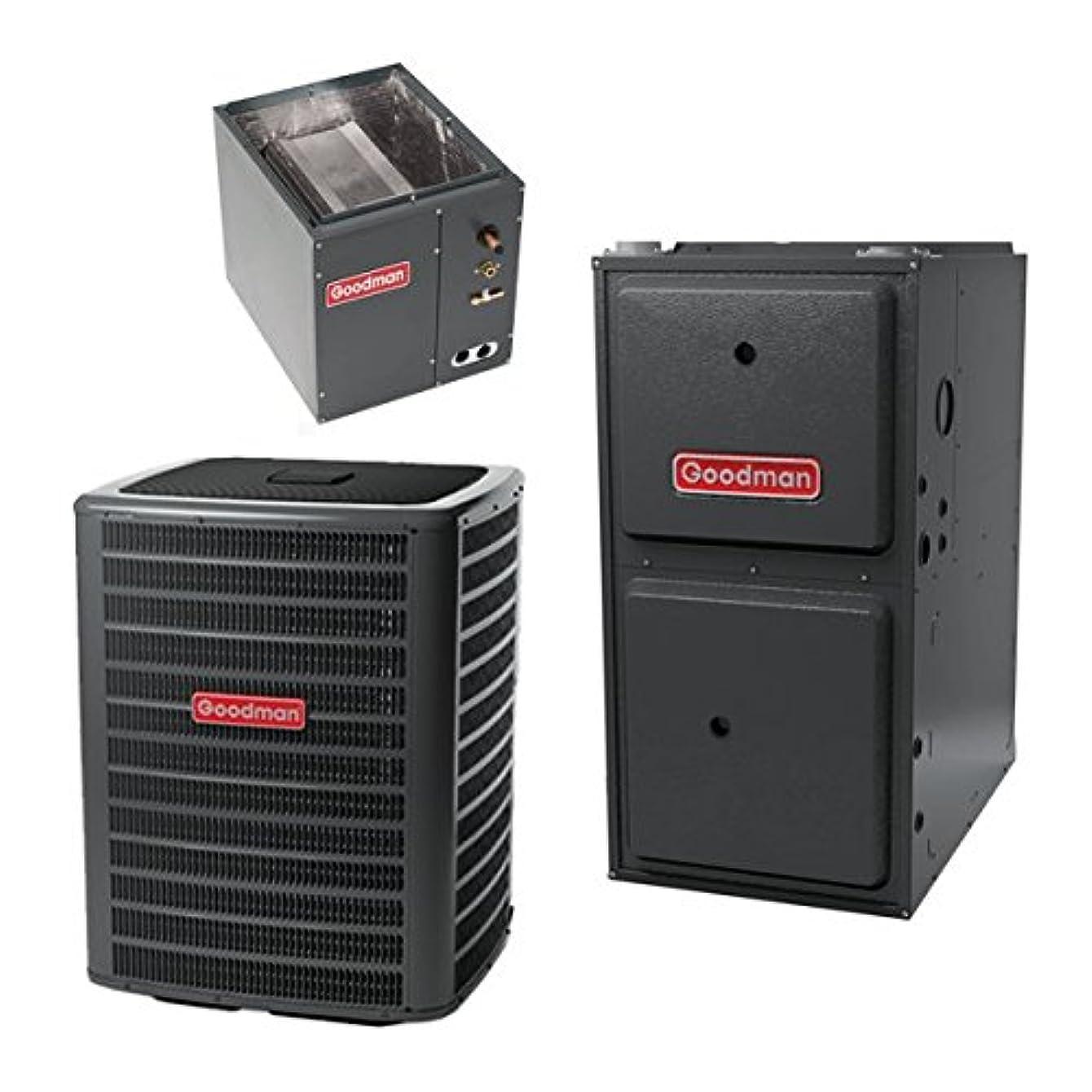 3 Ton Goodman 14 SEER R410A 92% AFUE 100,000 BTU Vertical Gas Furnace Split System