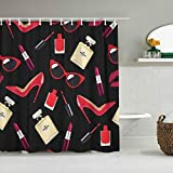 JIOLK Cortina de Ducha Impermeable,Rojo Hermoso Niña con Labios Zapatos Laca Lápiz Labial Creative Girls Beauty,Cortinas de baño de poliéster de diseño 3D con 12 Ganchos,tamaño 180 x 210cm