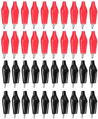 【40個入】鰐口クリップ プラスチック ワニ口クリップ 38mm長さ ワニ口クリップクランプ コネクタ 被覆 メタル 耐久性 電気テスト 回路試験 小 赤 黒