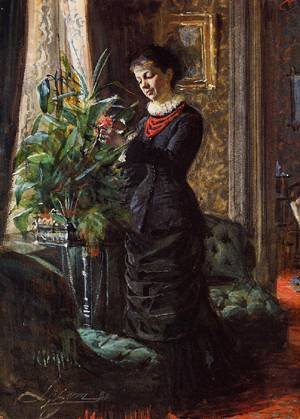 GFM Painting–Reproducción hecha a mano de pintura de aceite. Diseño color Portrait Of FRU Lisen Samson, nee Hirsch, Arranging Flowers At A Window 1881, pintura de aceite de Anders Zorn