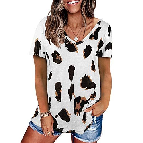 SLYZ Mujeres Europeas Y Americanas Verano Cuello En V Manga Corta Camiseta Verano Multicolor Blusa De Talla Grande