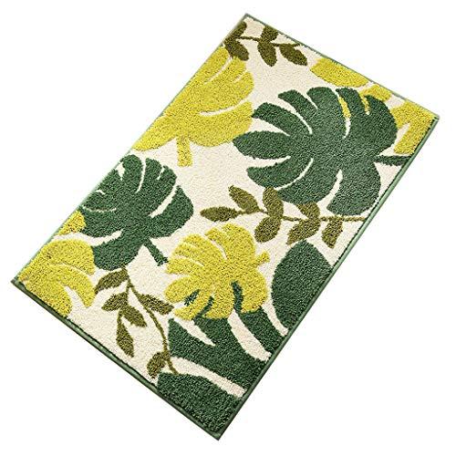 qiuxiaoaa Alfombra antideslizante para interiores de poliéster, única para dormitorio, sala de estar, cocina, jacquard color verde