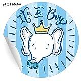 5 x 24 süße hellblaue Baby Aufkleber mit Elefant und Schnuller, MATTE Papieraufkleber für...