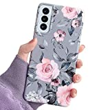 YeLoveHaw Phone Case Designed for Samsung Galaxy S21 5G for Women Girls, Soft Slim Full-around Protective Cute Cover, Floral Purple Gray Leaves Pattern, Compatible with SamsungS21 6.2'' (Pink Flowers)