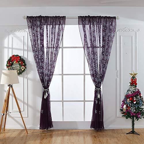 FeiliandaJJ Vorhang Transparent, Vorhänge mit ösen Weihnachten Schneeflocke Drucken Atmungsaktiv Gardinen Gardinenschals Fenstervorhang Wohnzimmer Schlafzimmer Kinderzimmer, 200x80cm (Weintraube lila)