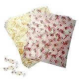 Papel Encerado, papel de cera Papel a prueba de grasa con el patrón de papel envolver alimentos fresa Papel para envolver pequeño 9.8'x 8.6' para hornear de queso de caramelo -100 pcs