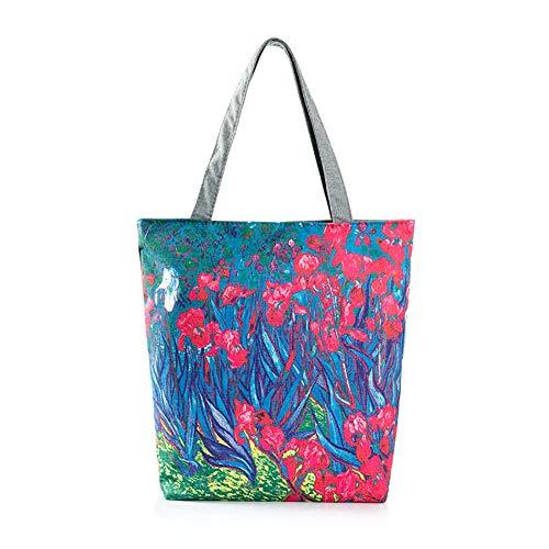 DaoRier Strandtasche Personalisierte Blumen mit Reißverschluss für Damen Shopper Tasche Einkaufstasche Student Tasche
