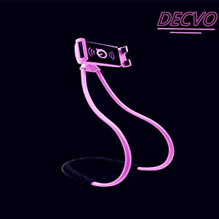 Gooseneck Lazy Bracket Universal Hanging on Neck Waist Cell Desk Bed Bike Motorcycle Phone Holder DIY to Free Hands Rotating Stand Table Smart Multiple Functions Cell Mobile Phone Mount 60cm (Pink)