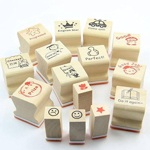 Teachers Encouragement Mark Stamp Seal Teacher Engraved Wood Rubber Stamp Set(15 Pieces in one Pack)