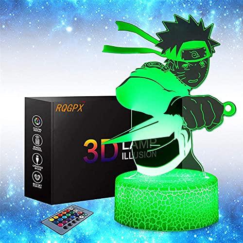 Lámpara de ilusión óptica 3D para niños de 16 colores de cambio de decoración - Regalos para niños y fans de anime