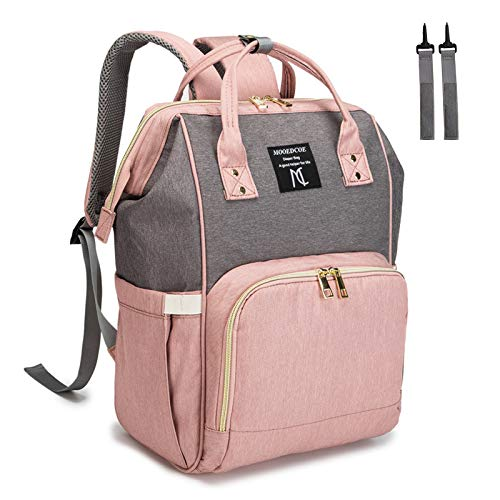 Diaper Bag Backpack Waterproof, Nanrui 25L Roomy Easy-Clean Nappy Bag for Baby Girl and Boy Travel Backpack with 2 Stroller Straps- Pink