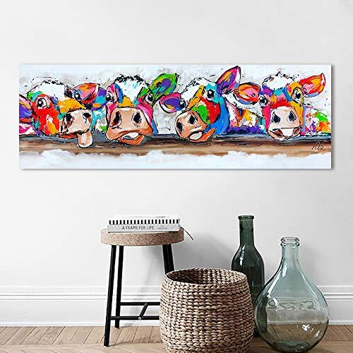 HNTHBZ Leinwand-Malerei Wand-Kunst-Leinwand Glückliche Kühe Malerei Tierbild Drucke Wohnkultur HYSLR0178 (Size (Inch) : 24x72inch)