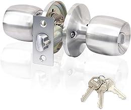 Rulart Maçaneta de porta para quarto com fechadura e chave, fechadura tubular para porta de entrada, aço inoxidável acetinado