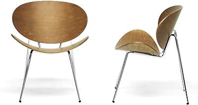 Baxton Studio Reaves Walnut Effect Mid-Century Modern Accent Chair, Set of 2