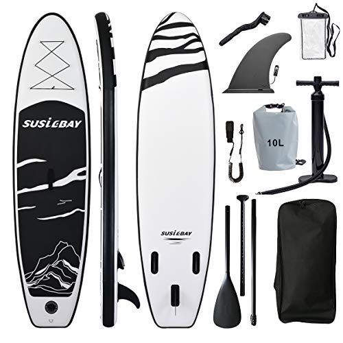 SUSIEBAY 10'x30 x6 17.5lbs Inflatable Stand Up Paddle Boards, Yoga Board, Floating Paddle, Hand Pump, Board Carrier, Waterproof Bag, Drop Stitch, Traveling Board for Surfing Backpack