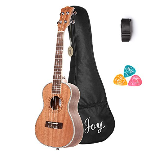 Joy 314 24 Inch Concert Mahogany Ukulele, Walnut fingerboard and bridge and with free Bag,Strap,3pcs of Picks
