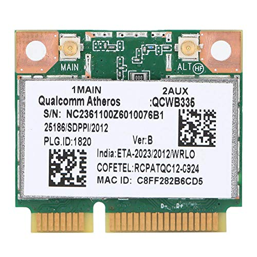 Wendry Tarjeta WiFi inalámbrica Gigabit Bluetooth Universal, Tarjeta de Red inalámbrica Bluetooth Mini PCI-E para Qualcomm Atheros AR9565 QCWB335 150M