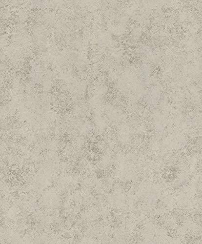 rasch Tapete 540437 aus der Kollektion #ROCKNROLLE – Vliestapete in warmen Grau im glänzenden Beton-Design – 10,05m x 53cm (L x B)