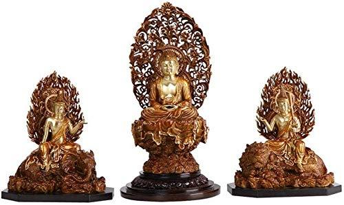 Accessori per La Casa Figurina della Statua del Buddha da Meditazione, Scultura del Buddha Seduto per La Decorazione Domestica, Statua di Armonia della Pace del Buddha in Meditazione Tre Santi 15 Pol