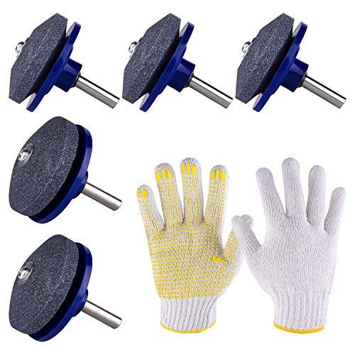 TUPARKA 5 Packs Lawn Mower Blade Sharpener for Drill with 1 Pair of Gloves,Lawn Mower Sharpener Grinder Wheel Stone for Any Power Drill Hand Drill