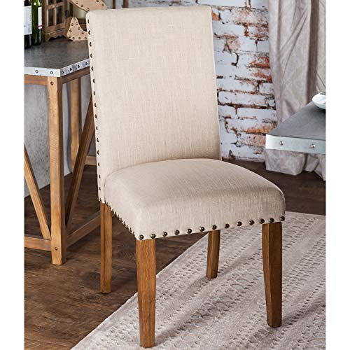 Furniture of America Georgie Fabric Dining Chair in Natural Tone (Set of 2)