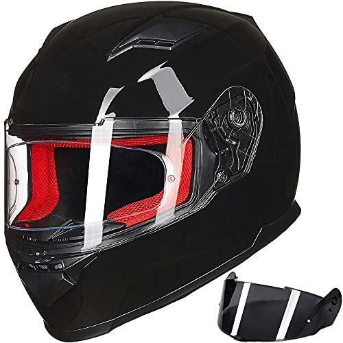 ILM Motorcycle Street Bike Full Face Helmet Anti-Fog Pinlock Shield Snowmobile Helmets DOT for Men Women (Gloss Black, M)