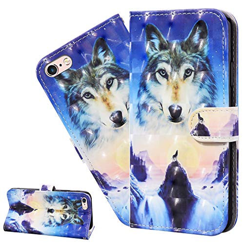 LEMAXELERS iPhone 8 Plus/iPhone 7 Plus Case iPhone 8 Plus Cover 3D Sunrise Wolf PU Leather Flip Notebook Wallet Case Magnetic Stand Card Slot Folio Bumper Case for iPhone 8 Plus,CY Sunrise Wolf