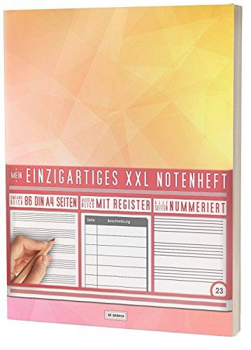 """Mein Notenheft / 86 Seiten, 44 Blätter, 12 Systeme / Mit Register und Seitenzahlen / PR301 """"Triangle"""" / DIN A4 Softcover"""